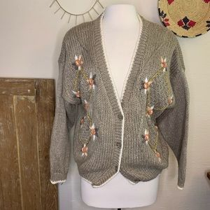 Vintage knit embroidered cardigan